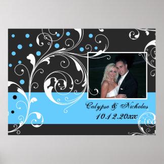 Floral scroll leaf black blue wedding photo poster