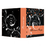 Floral scroll leaf black, coral orange recipe binder