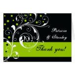 Floral scroll leaf black, green wedding Thank You Greeting Card