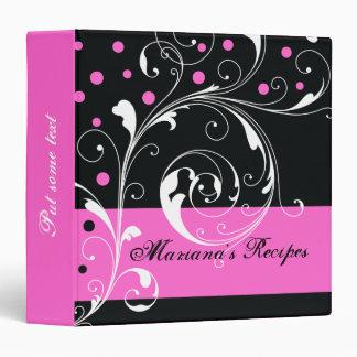 Floral scroll leaf black, hot pink recipe binder