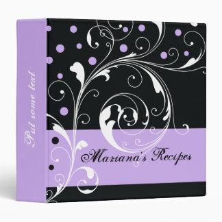 Floral scroll leaf black lavender purple recipe 3 ring binder