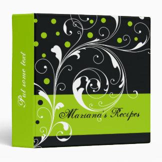 Floral scroll leaf black, lime green recipe 3 ring binder