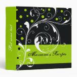 Floral scroll leaf black, lime green recipe binder