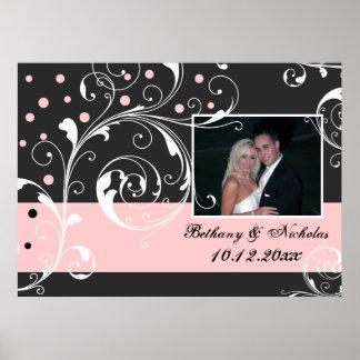 Floral scroll leaf black pale pink wedding photo poster