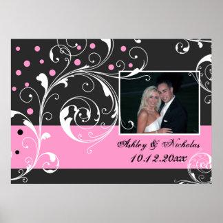 Floral scroll leaf black pink wedding photo poster