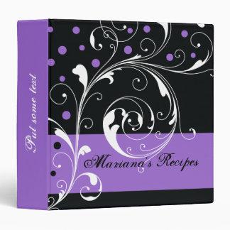 Floral scroll leaf black purple recipe binder