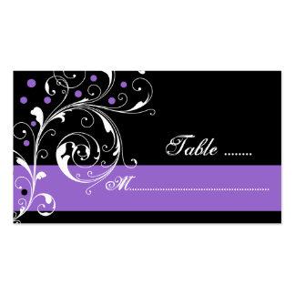 Floral scroll leaf black purple wedding place card