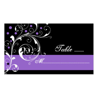 Floral scroll leaf black purple wedding place card business card templates