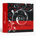 Floral scroll leaf black, red recipe 3 ring binders