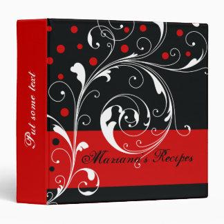 Floral scroll leaf black, red recipe binder