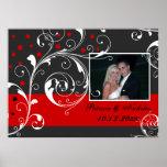 Floral scroll leaf black, red wedding photo poster