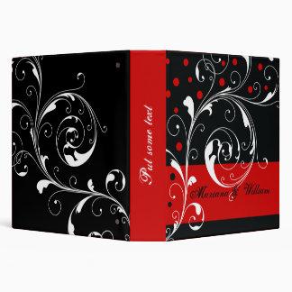 Floral scroll leaf black, red wedding planner 3 ring binder