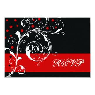 Floral scroll leaf black, red wedding RSVP Card