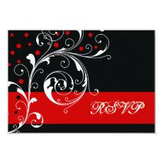 Floral scroll leaf black, red wedding RSVP 3.5