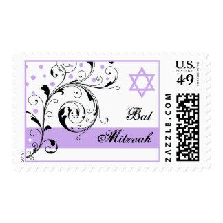 Floral scroll leaf black, white purple Bat Mitzvah Postage Stamp
