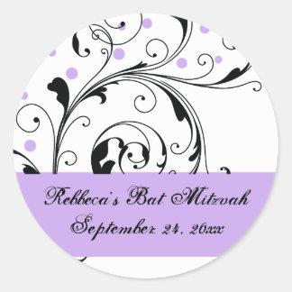 Floral scroll leaf black, white purple Bat Mitzvah Classic Round Sticker