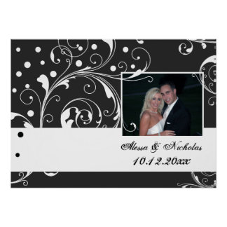 Floral scroll leaf black, white wedding photo poster
