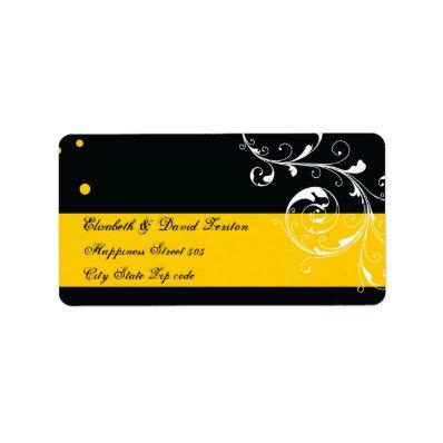 Floral scroll leaf black, yellow wedding custom address labels