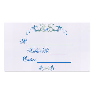 Floral Scroll Monogram in Blue and Green Place Car Double-Sided Standard Business Cards (Pack Of 100)