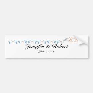 Floral Scroll Monogram in Orange and Blue Bumper Stickers