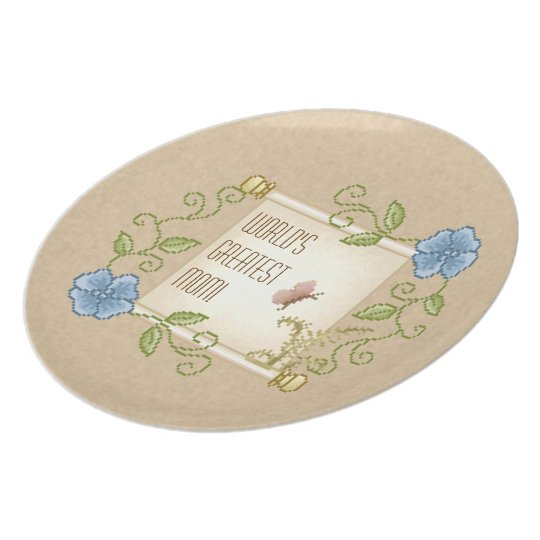 Floral Scroll Pixel Art Dinner Plate