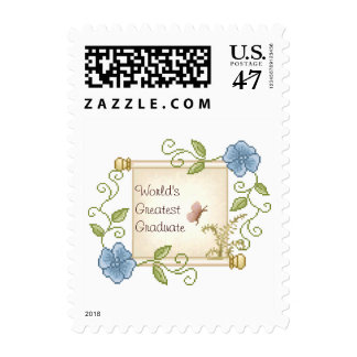 Floral Scroll Pixel Art Postage