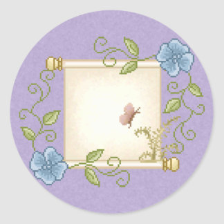Floral Scroll Pixel Art Classic Round Sticker