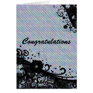 Floral Scroll & Texture Congratulations Card