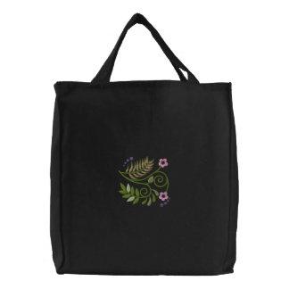 Floral Scrolls Hoodie Embroidered Tote Bag