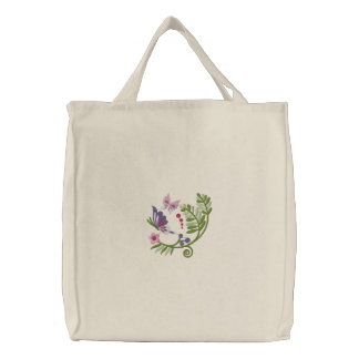 Floral Scrolls Tote Bag Embroidery