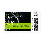 Floral scrollwork green wedding Save the Date Postage