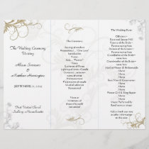 Floral Scrollwork Wedding Program Template