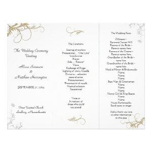 Floral Scrollwork Wedding Program Template Personalized Letterhead