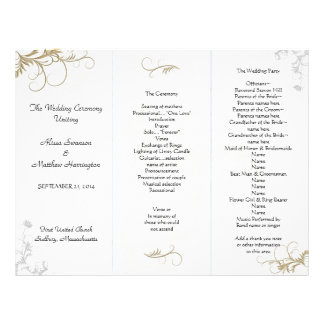 Floral Scrollwork Wedding Program Template Personalized Letterhead