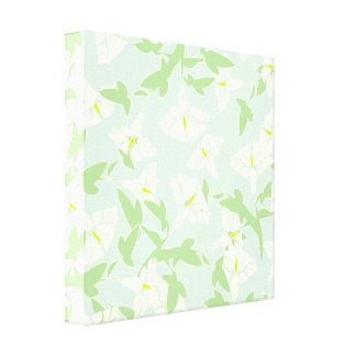 Floral Seafoam Green And White Canvas Wall Art