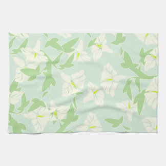 Floral Seafoam Green And White Dish towel