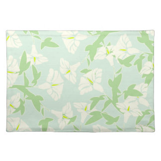Floral Seafoam Green And White Spring Placemats