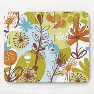 Floral Seamless Pattern retro goldens oranges fun Mouse Pad