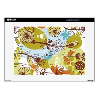 """Floral Seamless Pattern retro goldens oranges fun 15"""" Laptop Skin"""
