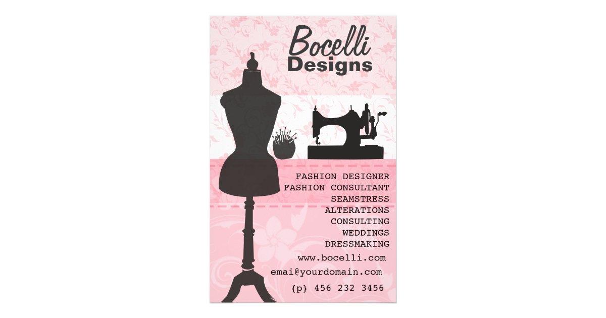 Floral Seamstress Fashion Dress Form Mannequin Flyer Zazzle Com