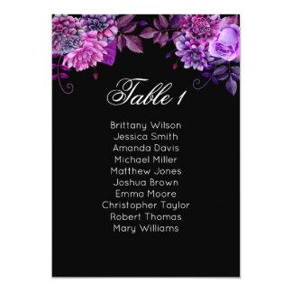 Floral seating chart purple. Black wedding plan Card