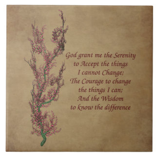 Floral Serenity Prayer Inspirational Quote Ceramic Tile