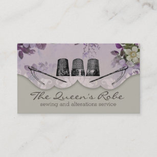 Embroidery business cards templates zazzle floral sewing thimbles embroidery seamstress business card colourmoves