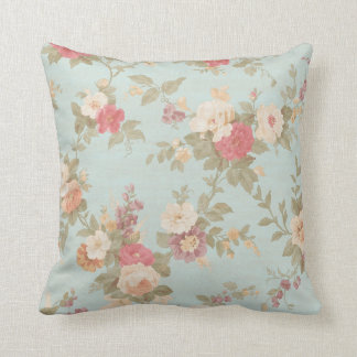Floral Shabby Chic Pink Rose Flowers Blue Throw Pillow