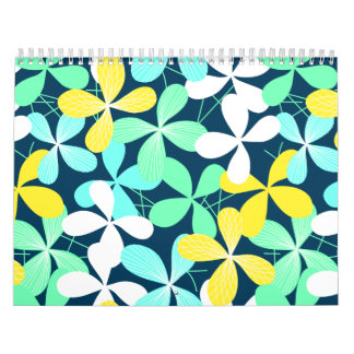 Floral shapes and lines calendar