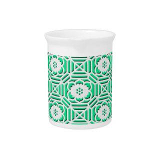 Floral Shokkoumon japanese pattern green Drink Pitcher