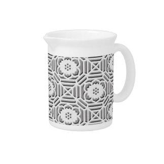 Floral Shokkoumon japanese pattern grey Drink Pitcher