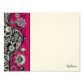 Floral Sidebar Flat Note Card (pink) Custom Invites