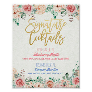 Floral Signature Cocktail Drink Menu Wedding Decor Poster