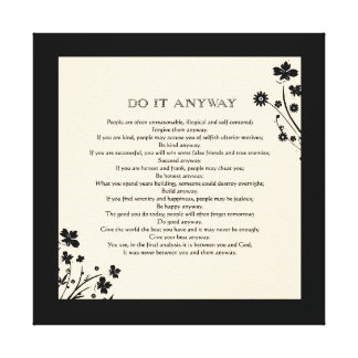 "Floral Silhouette ""Do It Anyway"" Canvas Print"